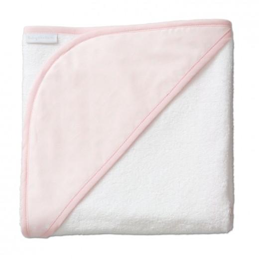 Kapucnis fürdőlepedő - rózsaszín szegéllyel