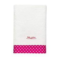 fürdőlepedő pink-fehér pettyes