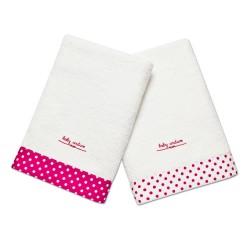 fürdőlepedő szett pink pettyes szegéllyel