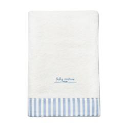 fürdőlepedő kék csíkos szegéllyel