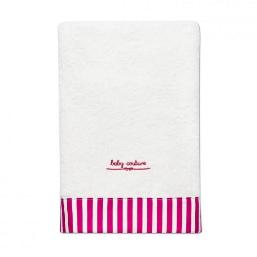 fürdőlepedő pink csíkos szegéllyel