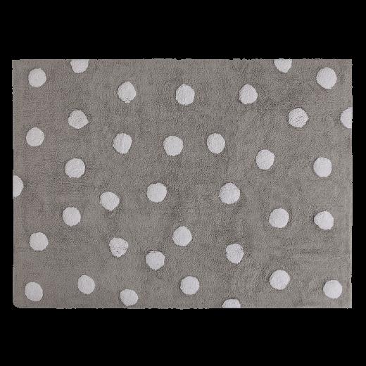 Szürke szőnyeg fehér pettyekkel